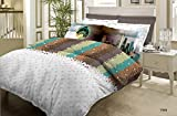 Bombay Dyeing Around The World Cotton Double Bedsheet with 2 Pillow Covers - Gray and Rust (CS03WW30706901)