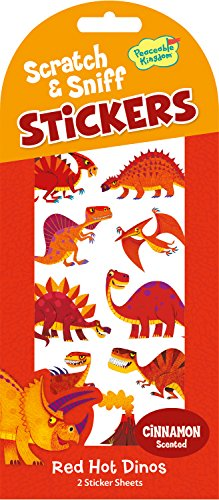 Peaceable Kingdom Scratch and Sniff Red Hot Dinos Cinnamon Scented Sticker Pack