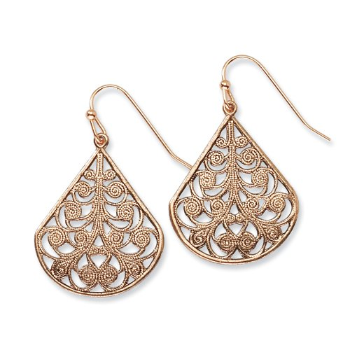 1928 Boutique Copper-tone Floral Design Teardrop Dangle Earrings
