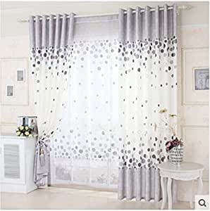 Lzj brief pastoral curtain bedroom living room fresh grey dot tulle curtains window - Amazon curtains living room ...