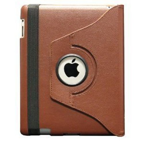 Fosmon 360 Degree Revolving PU Leather Case With Multi Angle Stand for Apple New iPad 3 - Brown (w/Magnetic Sleep Function)
