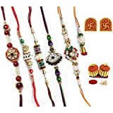 Daksh Creations Rakshabandhan (rakhi) Multicolors Traditional Outlook With White Moti And Stones ( Set Of 6)
