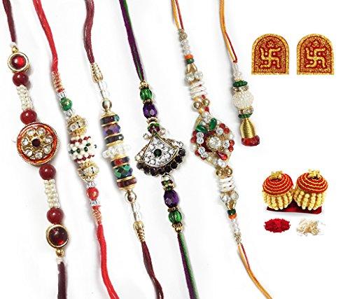 Daksh Creations Rakshabandhan (rakhi) Multicolors Traditional Outlook With White Moti And Stones ( Set Of 6)