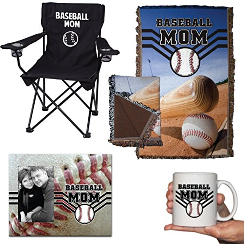 Baseball Mom Gift Set - Camping Chair, Blanket, Coffee Mug And Picture Frame
