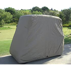 Deluxe 2 Passenger Golf Cart Cover in taupe, Fits E Z GO, Club Car and Yamaha G model