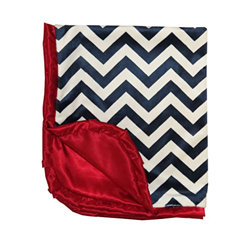 Caught Ya Lookin' Reversible Baby Blanket, Navy and White Chevron - 1