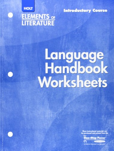 Holt Elements of Literature: Language Handbook Worksheets, Introductory Course, Grade 6