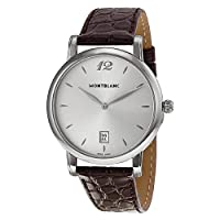 Montblanc Star Classique Date Stainless Steel Brown Leather Mens Watch 108770 by Montblanc
