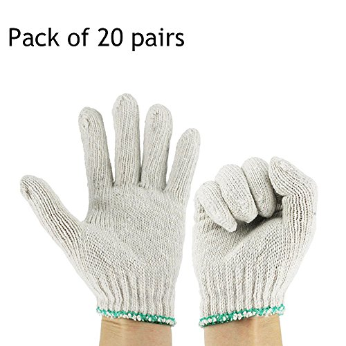 Ezyoutdoor 20 pairs White Factory Industry Knitted Cotton Work Protect Gloves,Elastic Cuff Beige Cotton Yarn Construction Site Work Gloves (Split Mittens compare prices)