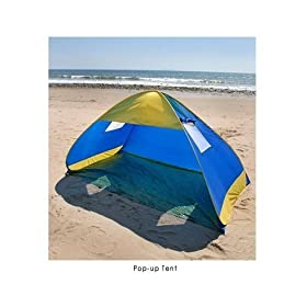 Deluxe Pop Up Beach Tent with Windows Family Cabana Sun Shelter Wind Shade Royal Blue with Folding Video on CD