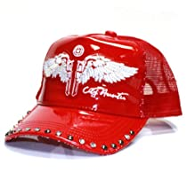 City Hunter Cr210 Patent Leather Trucker with Wing Cap -red