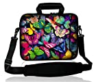 Waterfly? Colorful Butterfly Pattern Design 9.7 10 10.2 inch Laptop Netbook Computer Tablet PC Shoulder Case Carrying Sleeve Bag Pouch Cover Protector Holder With Extra Pocket For Apple iPad/Acer Aspire one/Dell inspiron mini/Samsung N145/HP Touchpad Mini 210/Lenovo S205 S10/Asus EeePC/And Most 9.7 10 10.1 10.2 Inch Netbook Tablet PC