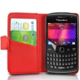 (Red) Blackberry Curve 9360 Protection Faux Leather Debit / Credit Card Slot Book Style Wallet Flip Case Cover Skin & LCD Screen Protector Guard By *Aventus*