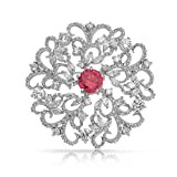Bling Jewelry Ruby Color CZ Flower Swirl Brooch Pin Pendant Medallion Vintage