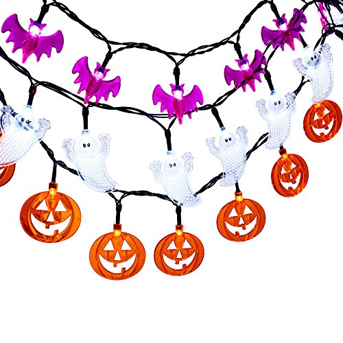 LUCKLED Set of 3 Battery Powered Halloween String Lights, 20 LED Fairy Decorative Lights for Indoor and Outdoor Decor - White Ghost / Orange Pumkin / Purple Bat