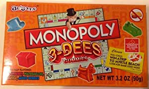 Monopoly 3-dees Gummies Candy (Nut Free) 3.2oz Pack(6 boxes)