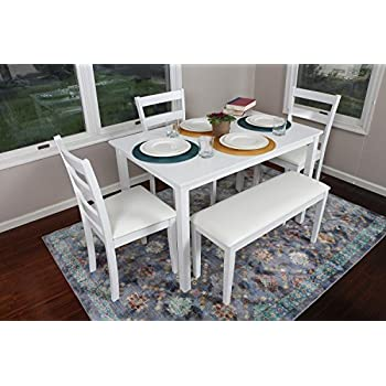 4 Person - 5 Piece Kitchen Dining Table Set - 1 Table, 3 Leather Chairs & 1 Bench White J150232White