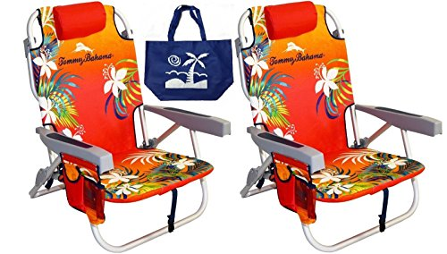 2 Tommy Bahama Backpack Beach Chairs/ Red + 1 Medium Tote Bag (Beach Backpack Cooler compare prices)