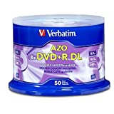 Verbatim DVD+R DL AZO 8.5 GB 8x-10x Branded Double Layer Recordable Disc, 50 Disc  97000