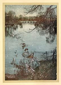 ARTHUR RACKHAM Fairies across the Lake, from Peter Pan in Kensington Gardens, by J.M Barrie c1906 250gsm Gloss Art Card A3 Reproduction Poster
