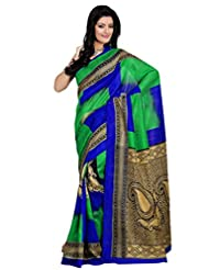 Riti Riwaz Green & Blue Bhagalpuri Silk Casual Saree With Unstitched Blouse KNK6404A