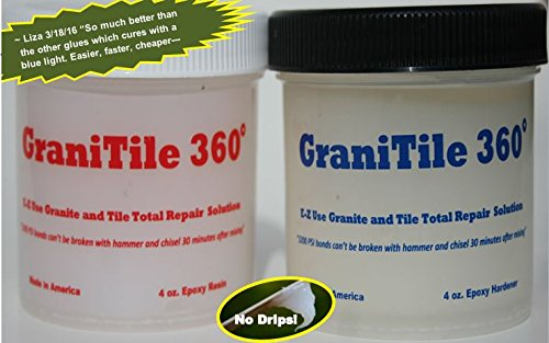 GraniTile 360 ~ For granite, tile, and ALL stone repair / Easily and quickly repairs chipped, broken and missing pieces! / 8 oz. two-part epoxy knife-grade kit covers 350 sq. inches (Countertop Epoxy Kit compare prices)