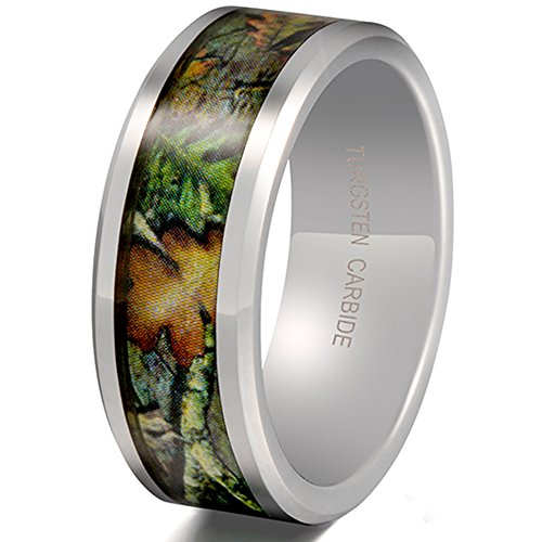 Mens Womens 8mm Tungsten Carbide Leaf Green Pattern Camouflage Engagement Wedding Ring Hunting Camo Band Size 10.5 (Camouflage Rings For Men compare prices)