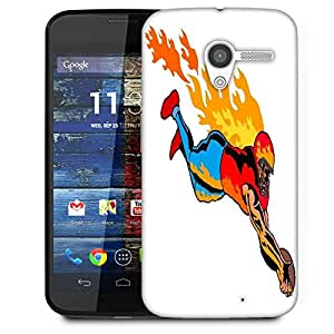 Snoogg Football Touchdown Flames Designer Protective Phone Back Case Cover For Moto X / Motorola X