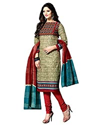 Govardhan Fashion Women's Unstitched Dress Material(H4_Beige)