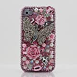 3D Swarovski Crystal Pink Butterfly Bling Case Cover for iphone 4 4S AT&T Verizon & Sprint