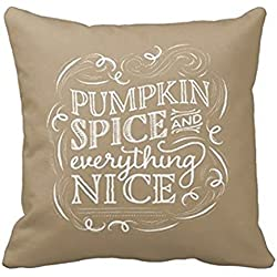 HLPPC Pumpkin Spice Fall Halloween Decor Pillow Cover Sofa Decorative Throw Pillow Case 18 x 18 Inches One Side