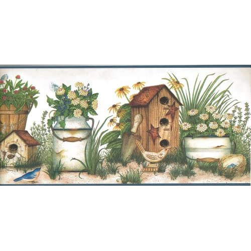 Wallpaper Border Country Birdhouses Birds Flowers Herbs on Cream with