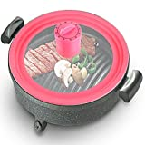 Basily Silicone Pot Lid with Cover-Mount Timer, 10', Pink