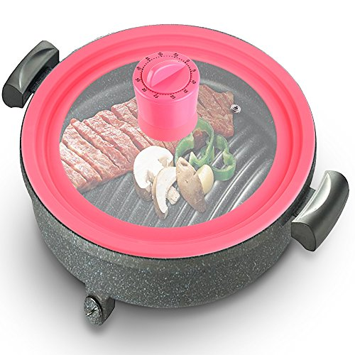 Basily Silicone Pot Lid with Cover-Mount Timer, 10″, Pink
