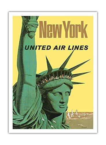 new-york-united-air-lines-statue-de-la-liberte-airline-affiche-vintage-de-voyage-vintage-airline-tra