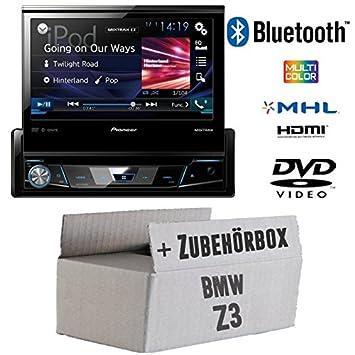 BMW Z3 - Pioneer AVH-X7800BT - 1-DIN 7-Zoll USB Bluetooth DVD - Autoradio - Einbauset