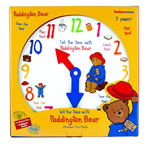 Paddington Learn to Tell The Time Wooden Clock,by Rainbow Designs