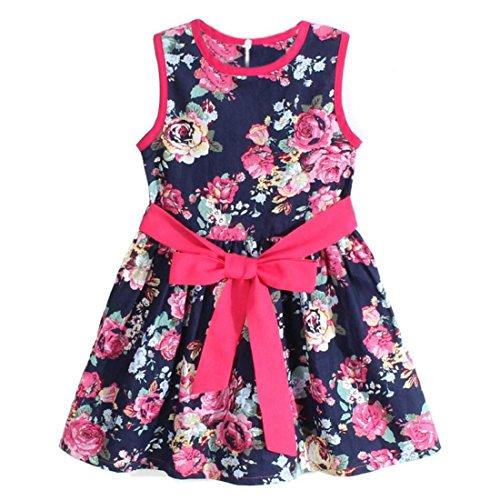 Vovotrade® Vestito capretti delle ragazze di fiore principessa partito floreale (110, Blu)