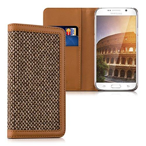 kalibri-Wallet-Case-Hlle-Donna-fr-Samsung-Galaxy-S6-S6-Duos-Cover-Flip-Tweed-Kunstleder-Tasche-mit-Kartenfach-in-Braun
