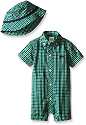 Little Me Baby Woven Romper And Hat, Green/Multi, 9 Months