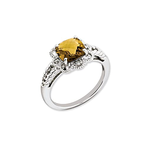 Black Bow Jewellery Company : Whiskey Quartz and Diamond Accent Scalloped Silver Ring