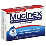 Mucinex Expectorant, 12 Hour, Maximum Strength, 1200 mg, Extended-Release Bi-Layer Tablets, 42 tablets
