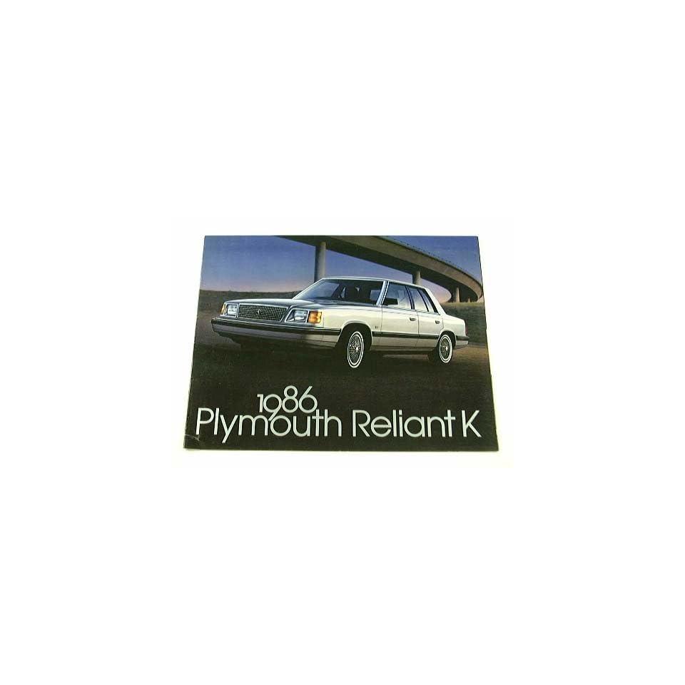 1986 86 Plymouth RELIANT K BROCHURE LE SE Sedan Coupe