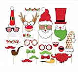 Christmas party Photographed props Winzik Christmas Santa hats beards glasses props,pack of 28