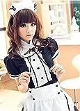 【ELEEJE】ハロウィン大人用メイド服&レースニーハイ豪華5点セット(S,黒)