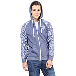 Navy Heather Fleece and Sleeve with print Mens Hooded Jacket