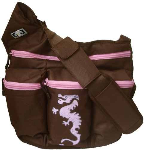 Diaper Dude Dragon Diaper Bag - Brown/ Pink