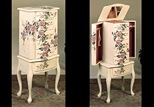 Coaster Jewelry Armoire, Ivory Finish Wood with Hand Painted Roses Floral
