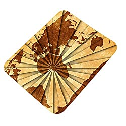 Clapcart World Map Design Printed Rubber Base Mat finish Mouse Pad For PC / Laptop - Multicolor