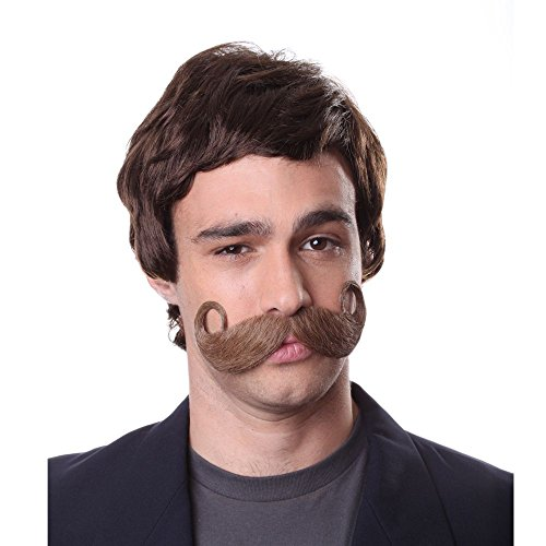 Characters Men's Old Fashioned Mustache Brown